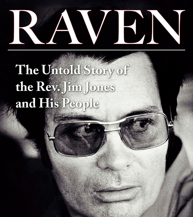 Book cover depicting a black and white close shot of Reverend Jim Jones